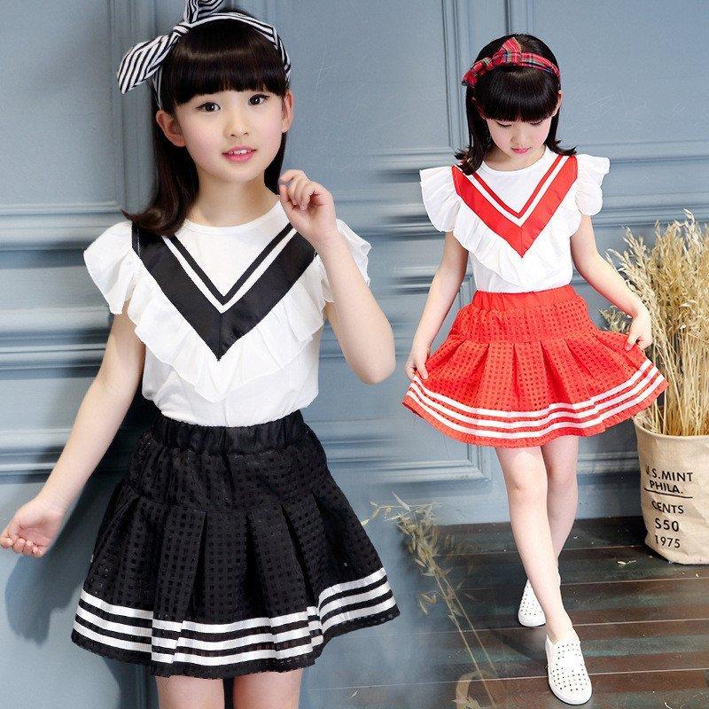 儿童短裙套装 韩版春秋装女孩假两件裙子两件套5-12岁宝宝学生装夏天