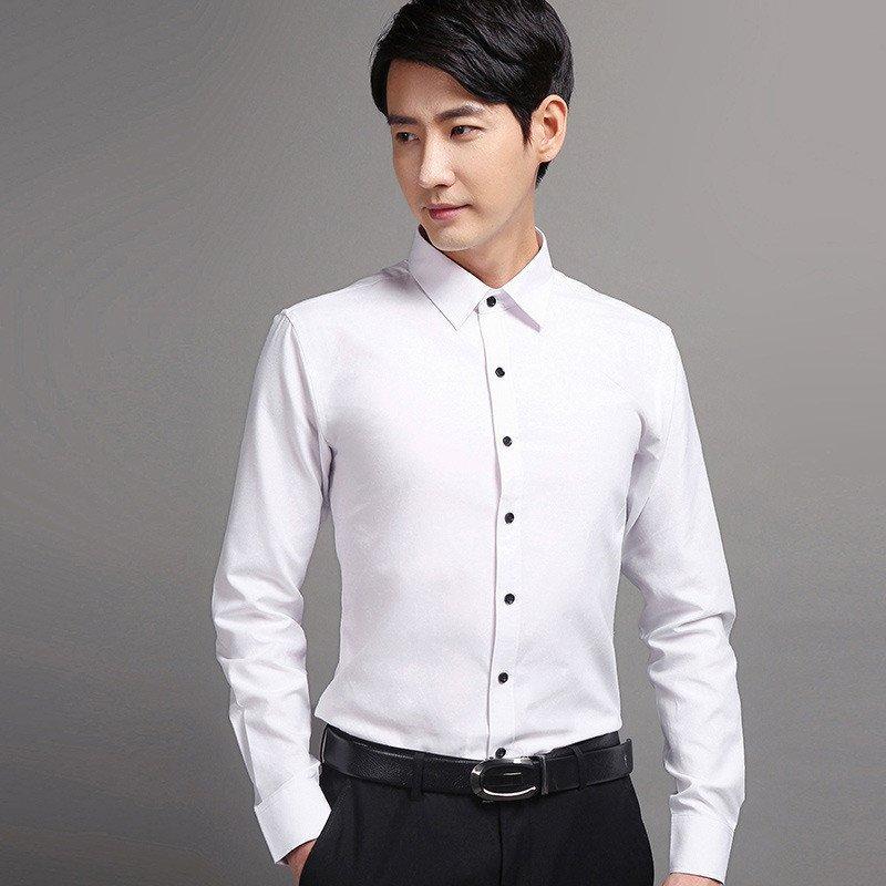 高檔牛津紡布料男士襯衫男裝新款韓版修身襯衫男商務純色長袖休閑韓國圖片