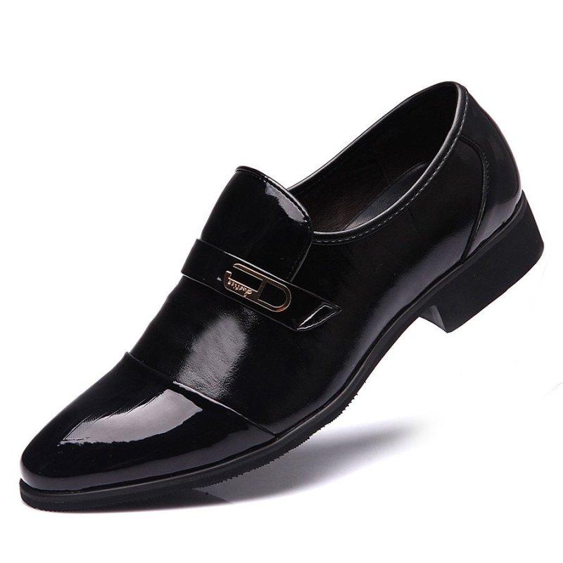 polo)新款潮流时尚拼接休闲皮鞋 黑色 39码高清实拍图