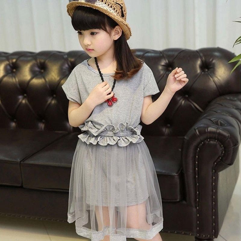 2016夏季女童夏装套裙新款韩版网纱裙腰带公主连衣裙儿童短袖套装女孩