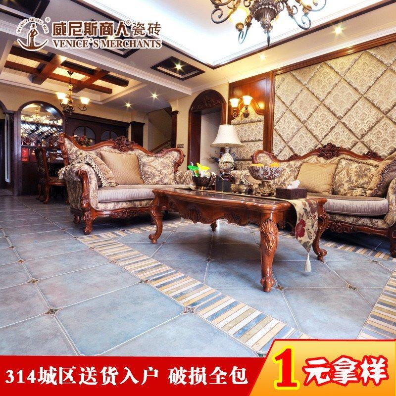 地中海圆角仿古砖 欧式客厅美式地板砖田园地砖复古瓷砖 阳台防滑釉