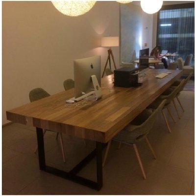 loft美式复古实木餐桌椅不锈钢长电脑桌铁艺餐桌