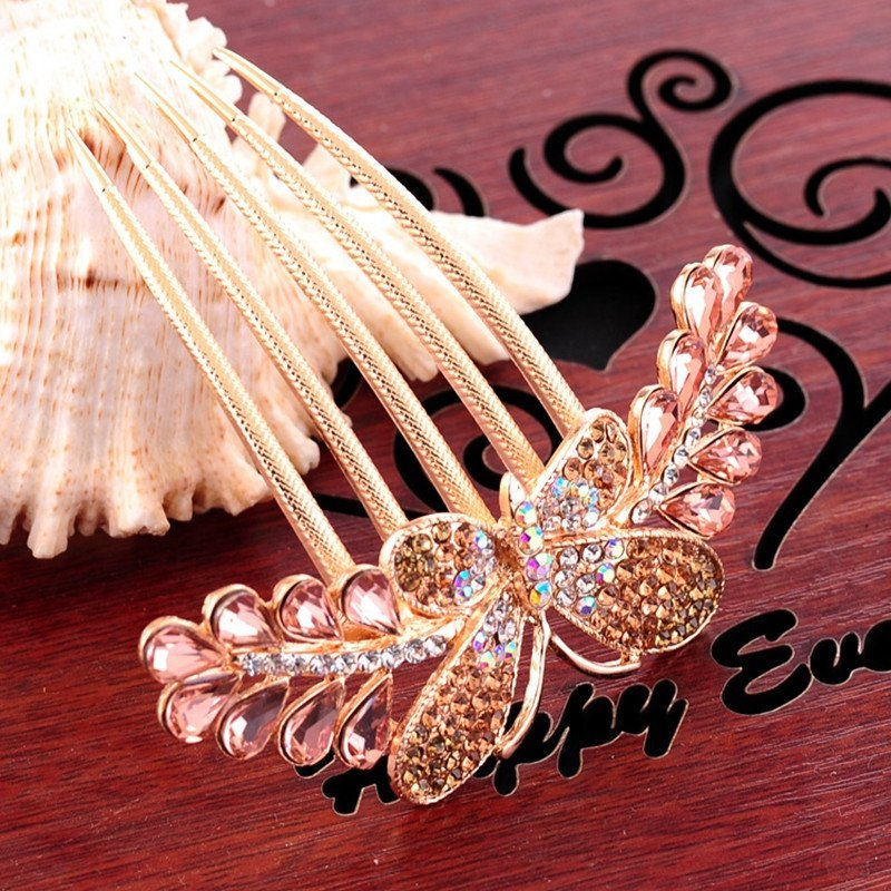 ginasy 韩版头饰盘发 蝴蝶结齿梳盘头发卡 镶钻七齿发梳插梳 粉色高清图片