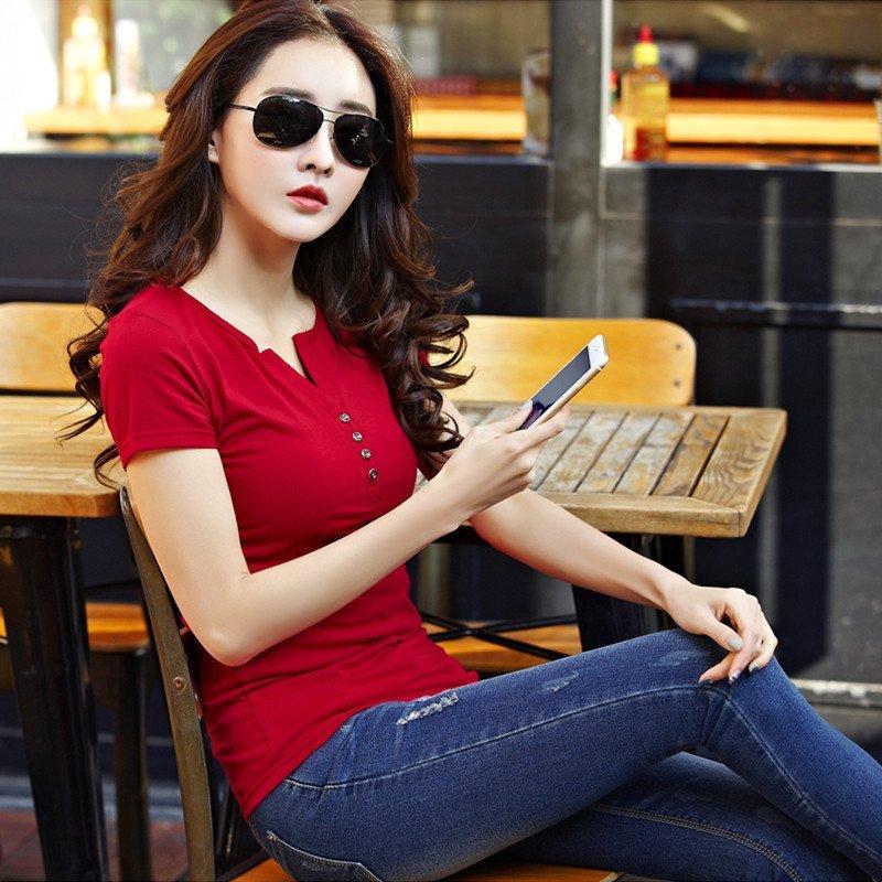 女��(��yi-9��y�_9色可选2016新款大码女装上衣纯棉v领短袖t恤女修身百搭半袖衫纯色t恤