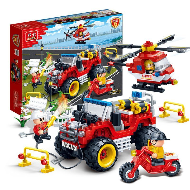 消防飞机小颗粒塑料拼插模型男孩积木车高清实拍图