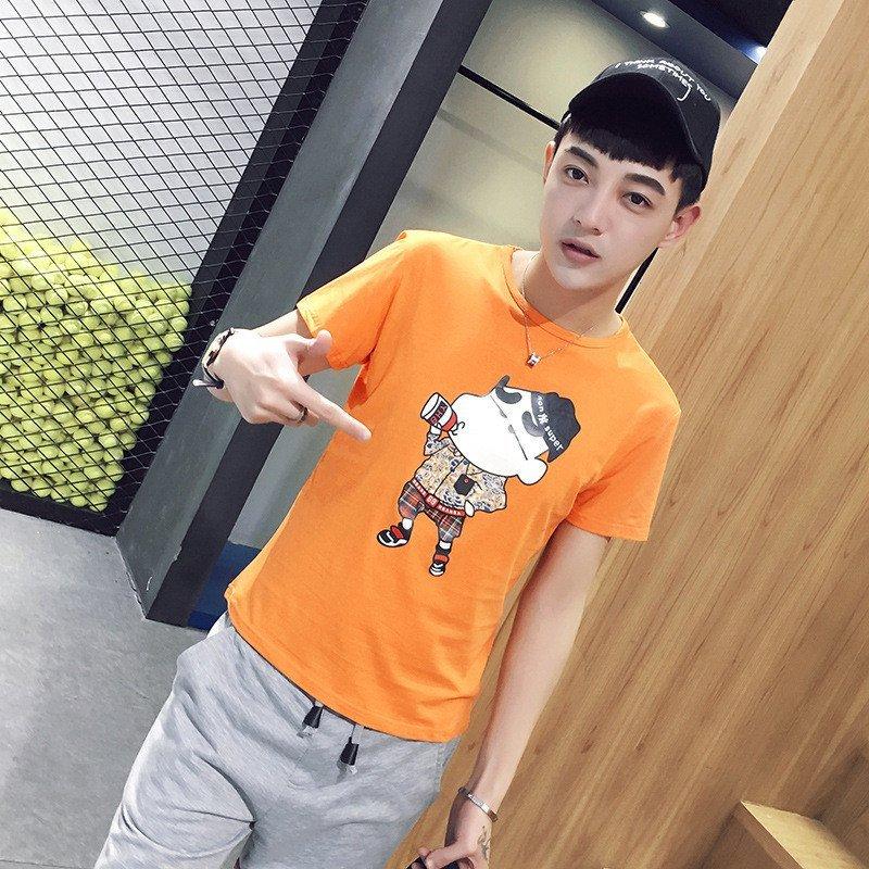 uyuk韩版纯棉男士可爱小动物印花短袖t恤潮 l 黄色高清实拍图