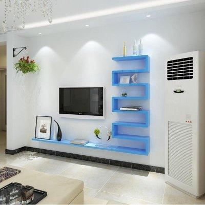 客厅背景墙装饰架造型隔板墙上置物架电视柜机顶盒架壁挂简约 a款蓝色