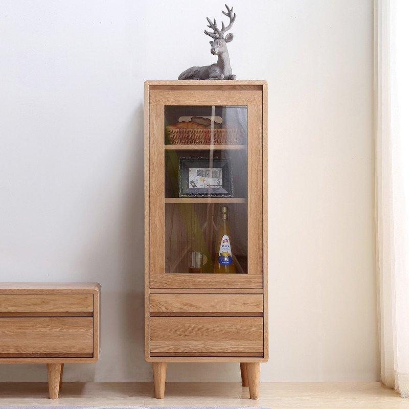 乐尚美 全实木电视边柜高柜 北欧简约客厅组合橡木家具 原木色