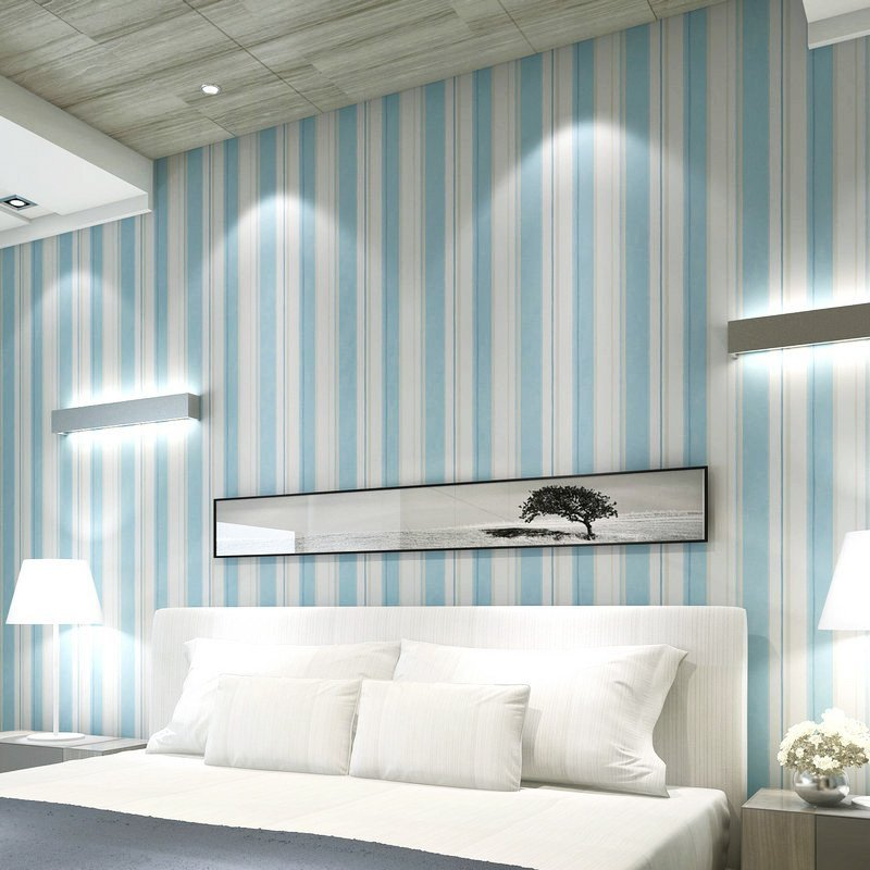 壹加壹竖条纹纯纸墙纸简约现代蓝白条卧室客厅电视背景影视墙壁纸