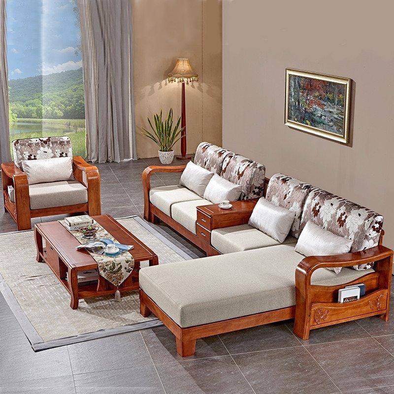 橡木现代新中式客厅家具贵妃转角木架