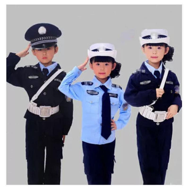 珂莱堡蒂 新款儿童警察服军装幼儿园男女孩表演服小交警服装小警察