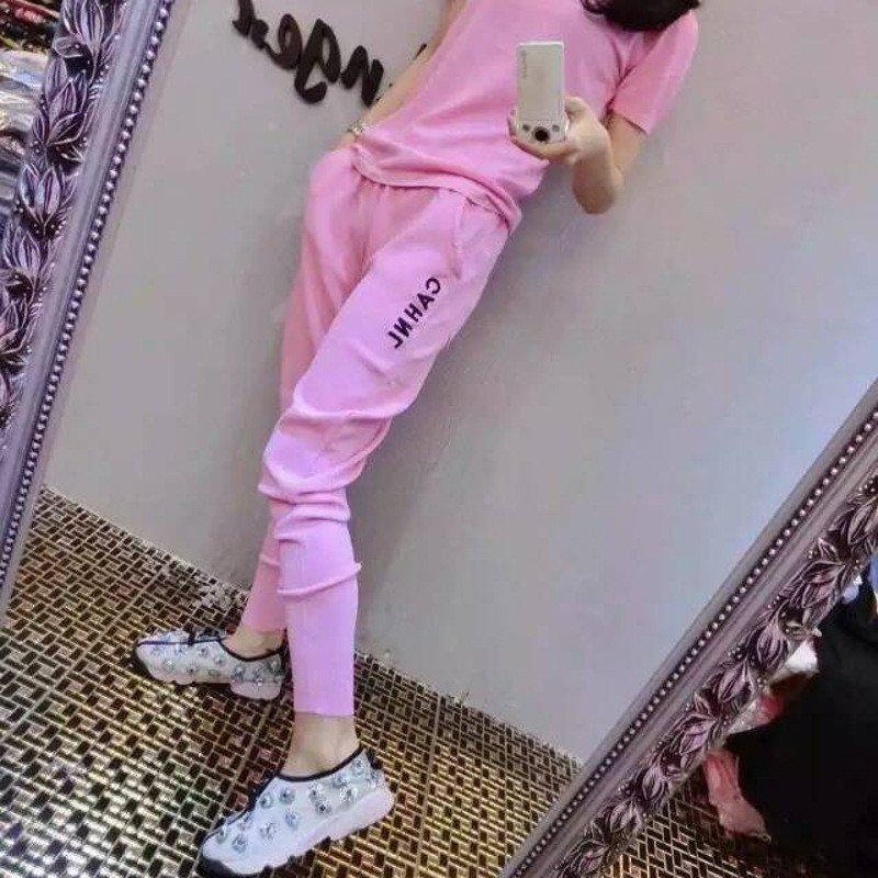 琳朵儿2016夏季简约时尚字母印花刺绣牛奶丝休闲套装 均码 粉色高清