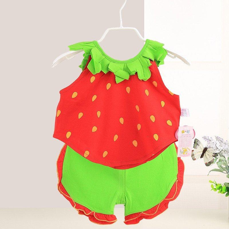 婴童套装 婴儿衣服 宝宝纯棉夏款套装 男女宝宝可爱草莓卡通两件套