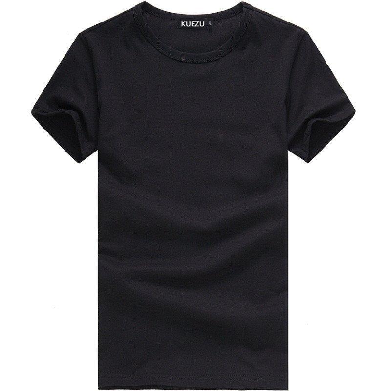 亚州色囹l#�+_uyuk2016夏季男装净色清爽修身短袖t恤圆领黑色体恤 l 黑色