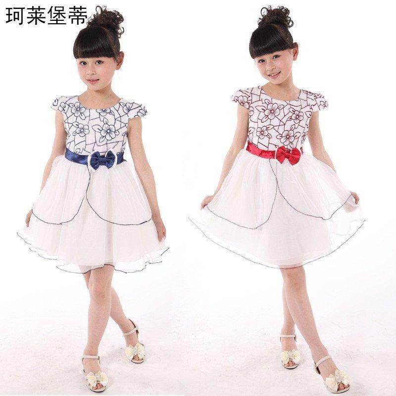 裙子2016女童夏装裙子 儿童连衣裙 女童装短袖 110码95-105厘米 红色