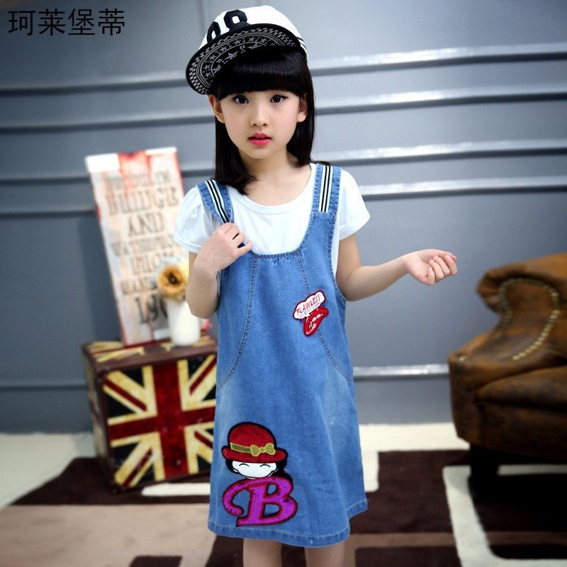 儿童连衣裙女童牛仔背带裙学生裙中小童裙子牛仔裙 130码=120-130厘米