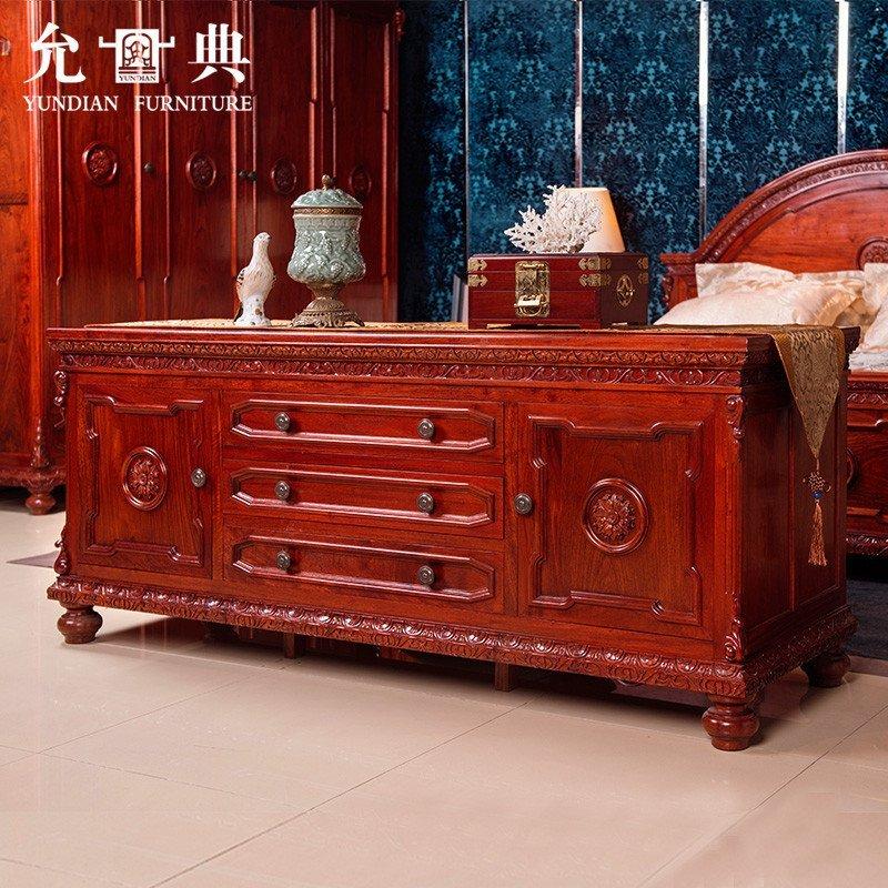 允典红木家具 花梨木世纪经典矮柜电视柜 欧式新古典 柜子 花梨木(棕