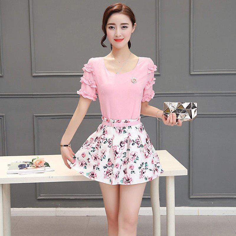 宜的女装_香宜惠2016新款甜美女装修身雪纺连衣裙两件套装 花瓣袖蓬蓬a字短裙60