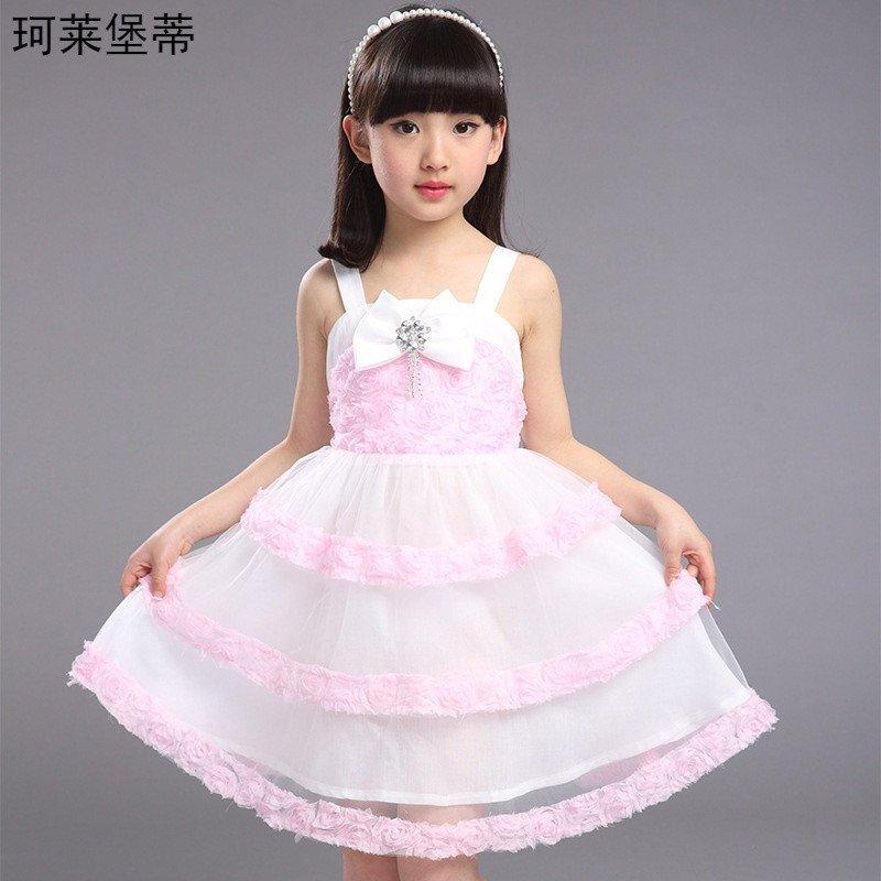 珂莱堡蒂 女童吊带裙2016新款女孩可爱蝴蝶结裙子公主纱裙 140cm 浅粉