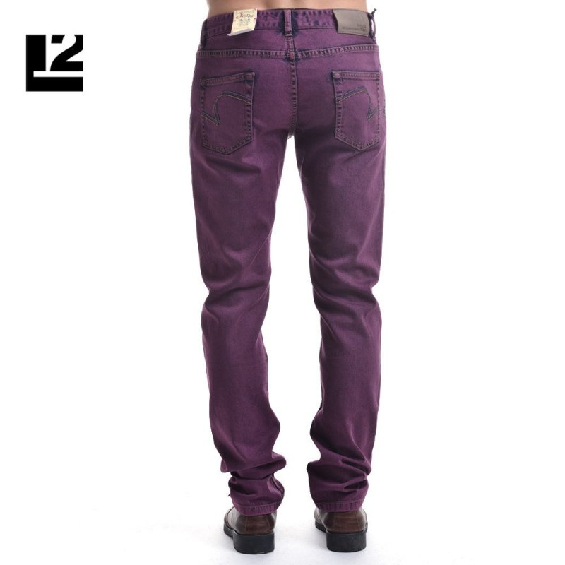 利郎l2 时尚棉质舒适深紫色牛仔裤 男士微弹修身裤子 165/74 深紫色