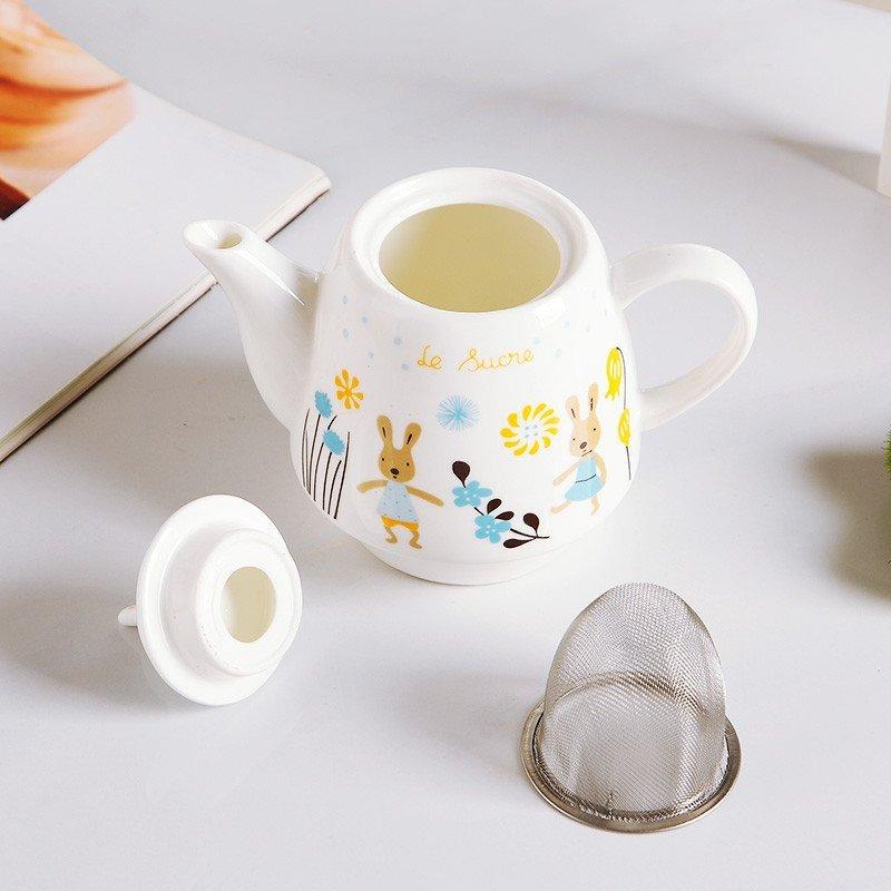 卡通小兔子陶瓷冷水壶水杯子儿童 菊花茶壶茶杯套装情侣对杯 薄荷蓝色