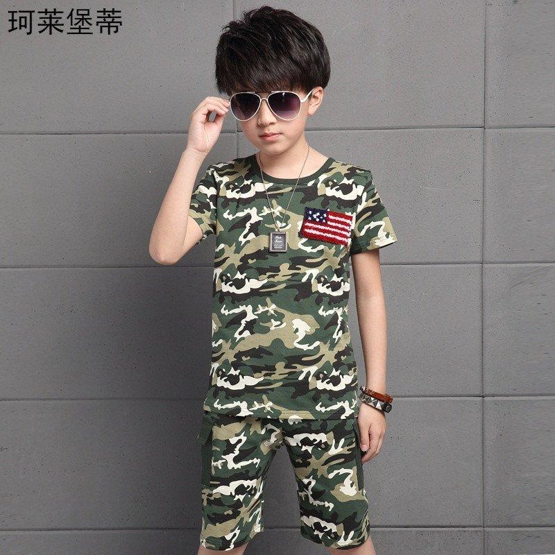 珂莱堡蒂 2016新男童迷彩服短袖套装夏季中大童学生军训服两件套 120c