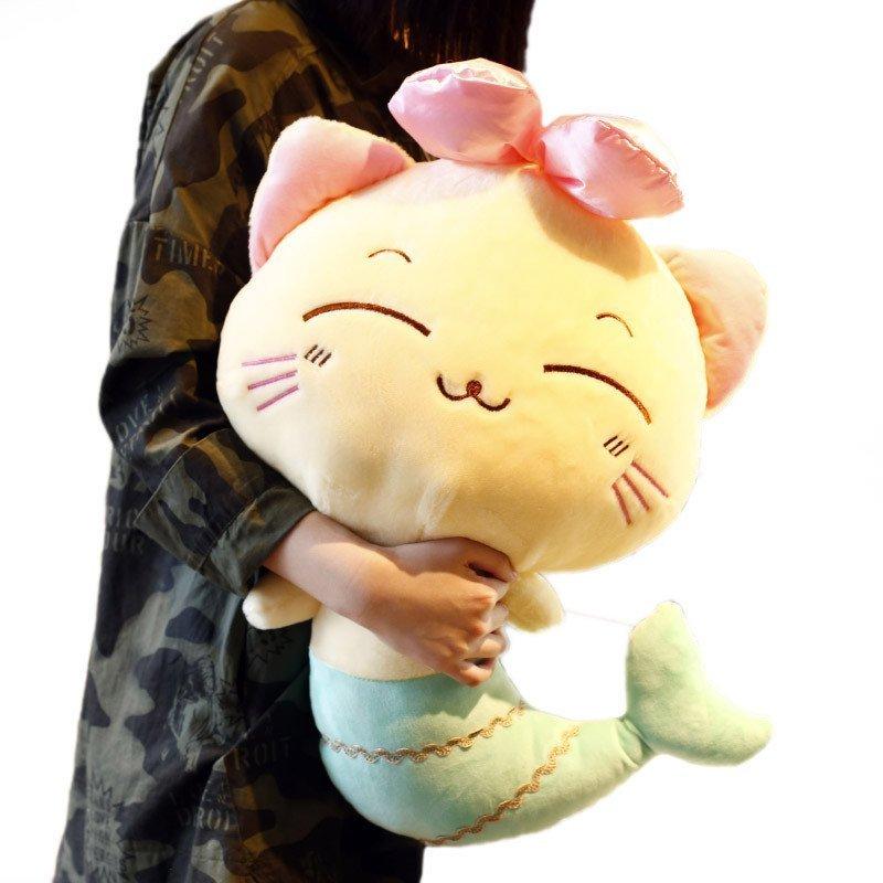 悦达 微笑美人鱼公仔可爱猫咪毛绒玩具儿童宝宝抱枕 女孩玩偶布娃娃