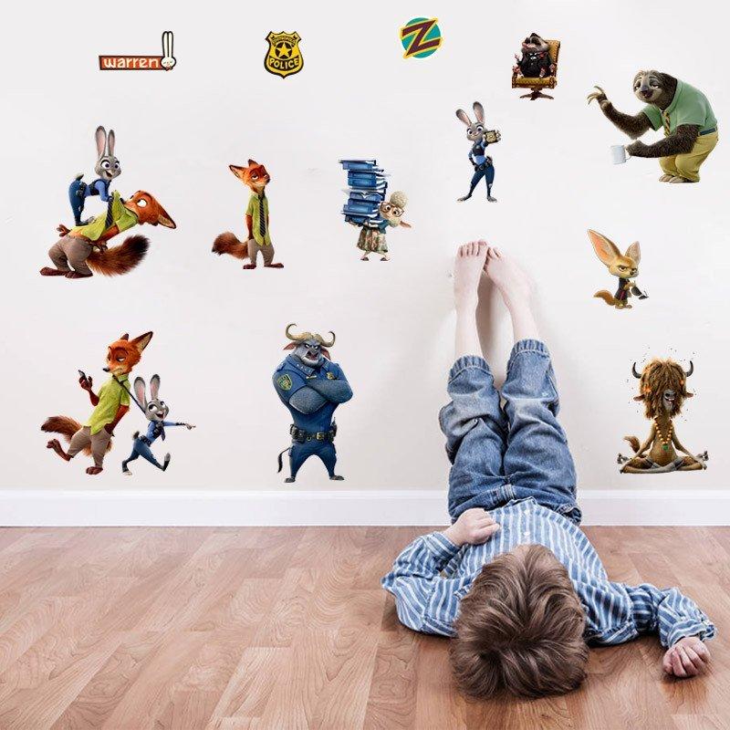 迪士尼正品授权 疯狂动物城 迷你型卡通人物海报贴纸 卧室 办公桌