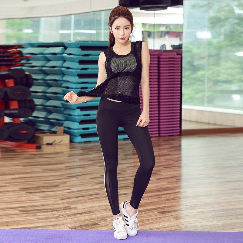 纽嘉16韩版夏季健身服套装女三件套瑜伽服运动紧身跑步大码 s 粉黑