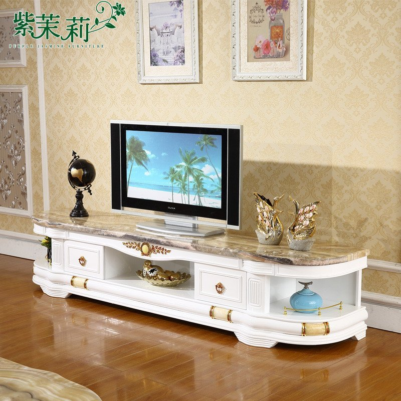 紫茉莉 欧式大理石电视柜茶几组合现代简约客厅家具 白色实木烤漆天然