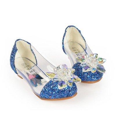 女童秋鞋小女孩子水晶鞋灰姑娘儿童高跟鞋公主皮鞋水钻单鞋闪 蓝色 36