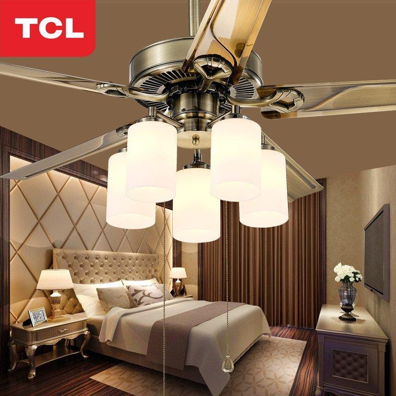 tcl风扇灯吊扇灯具 客厅简约现代卧室餐厅灯饰 42寸不锈钢叶/五灯e27