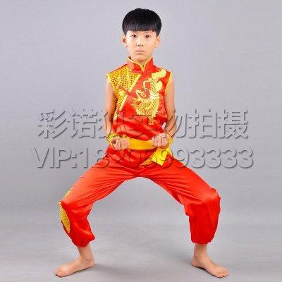 学生少儿童男童武术幼儿园中国功夫表演出服装操短袖太极练功 红色