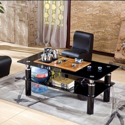 简约现代钢化玻璃功夫茶几茶台茶桌配鸡翅木茶盘带炉