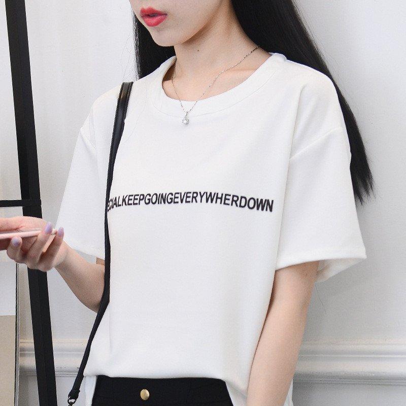 悍鹿2016夏季休闲印花字母短袖t恤女 m 白色高清实拍图