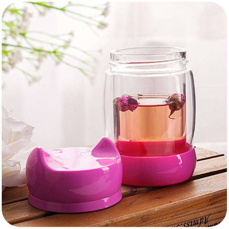 猫咪杯子单双层保温玻璃杯女花茶杯过滤带盖便携创意可爱水杯 粉色