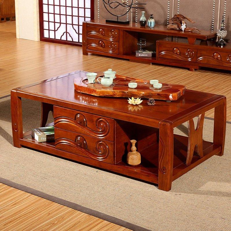 创未 水曲柳实木茶几现代新中式客厅实木茶水桌茶台组合家具 柚木色