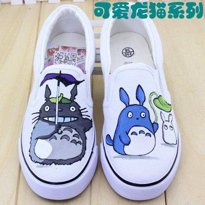 牛牛手绘帆布鞋运动乐福板鞋 女夏学生日系懒人休闲鞋卡通龙猫小白鞋