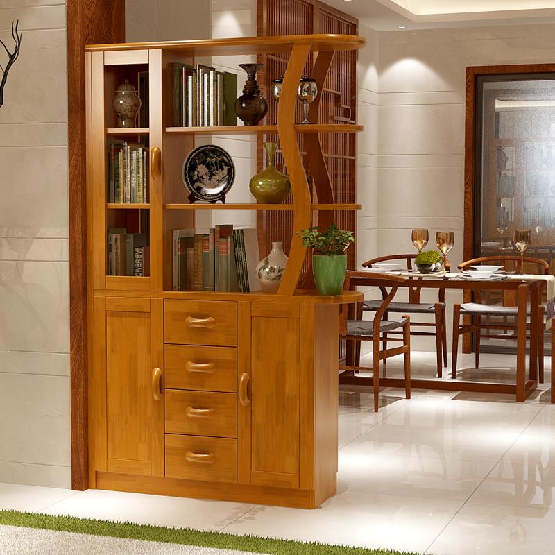 鞋架进门厅柜玄关柜 双面胡桃木色装饰柜