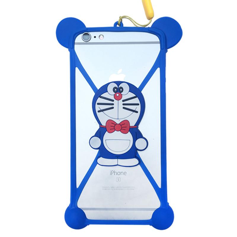 手机套苹果三星硅胶圈挂绳卡通保护防摔边框华为手机壳 蓝色叮当猫
