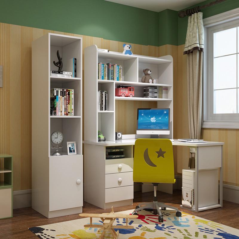 香格里湾 儿童家具转角书桌书柜学习桌男孩电脑桌带书架女孩拐角写字图片