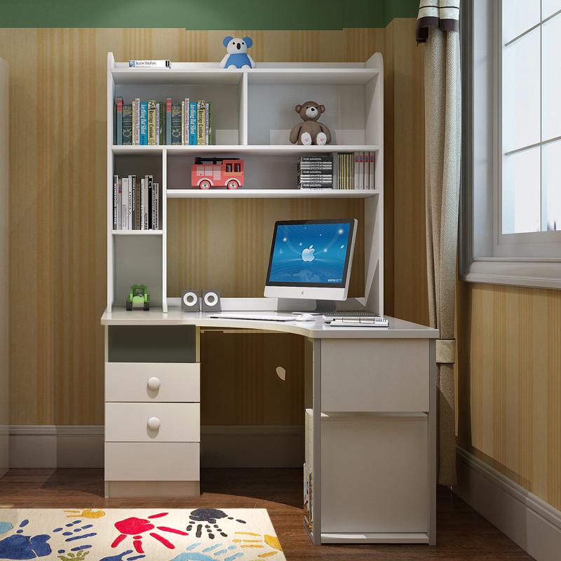 香格里湾 儿童家具转角书桌书柜学习桌男孩电脑桌带书架女孩拐角写字