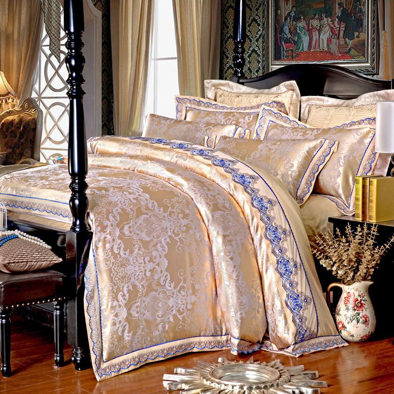 宝水星家纺四件套欧式提花贡缎四件套100%纯棉全棉婚庆床上用品新款