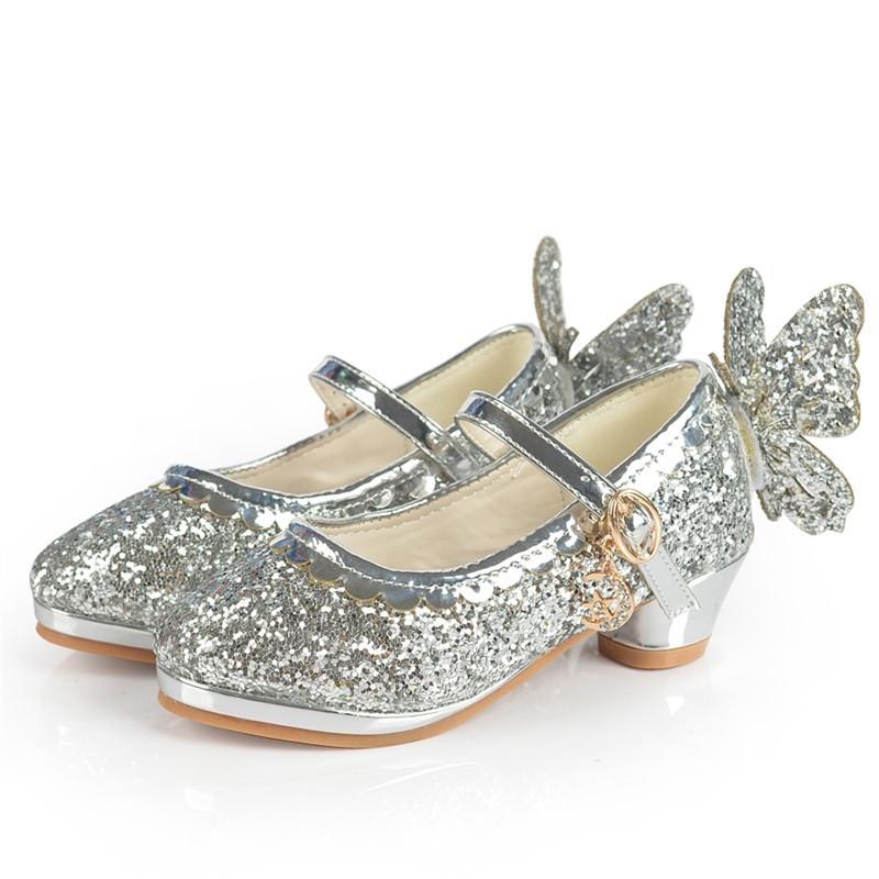麦宝创玩 春秋女童皮鞋高跟鞋小学生女孩单鞋儿童公主演出鞋可爱蝴蝶