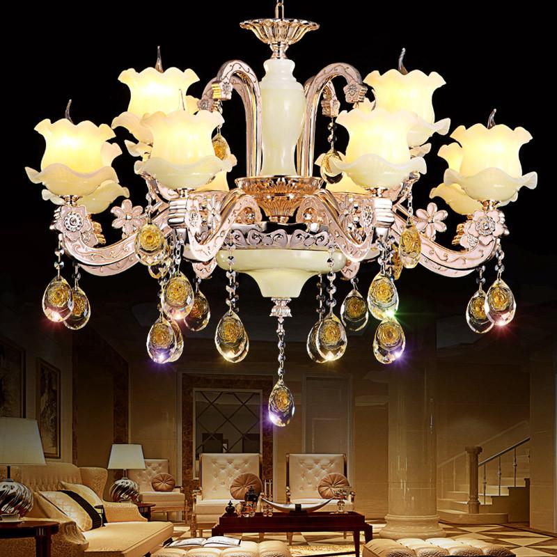 锌合金玉石水晶吊灯客厅欧式别墅餐厅卧室蜡烛酒店工程吊灯具高清实拍