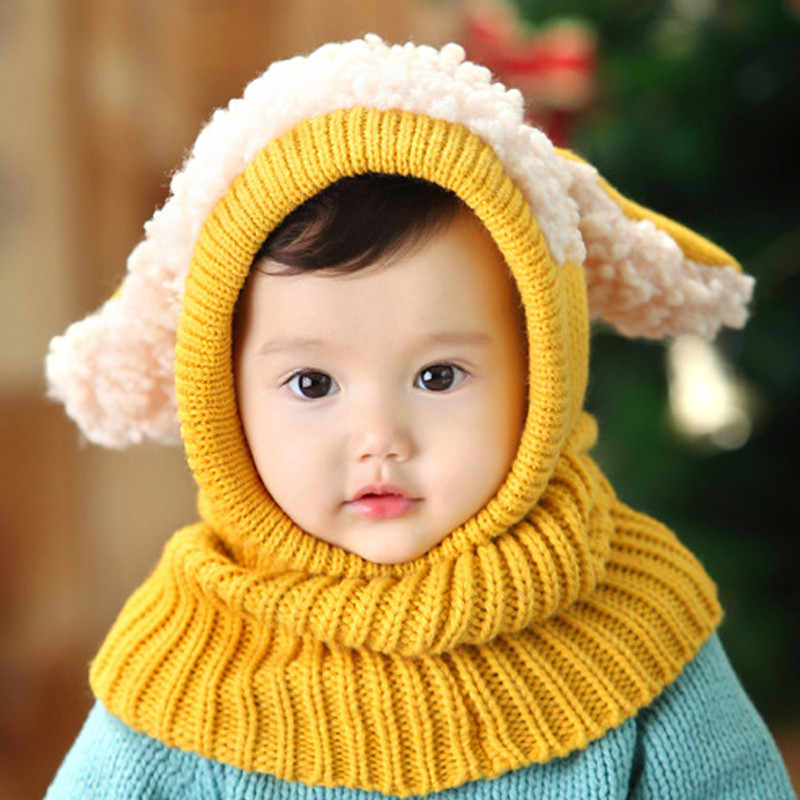 韩国版秋冬季可爱男女宝宝帽子连体围脖 幼儿童小狗耳朵帽子 6个月-3