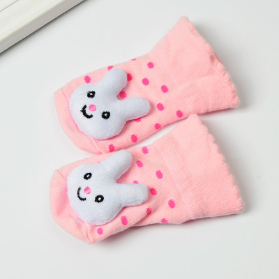宝宝全棉袜子卡通立体袜公仔袜防滑松口 6-12个月(9-11cm) 粉色眯眼兔