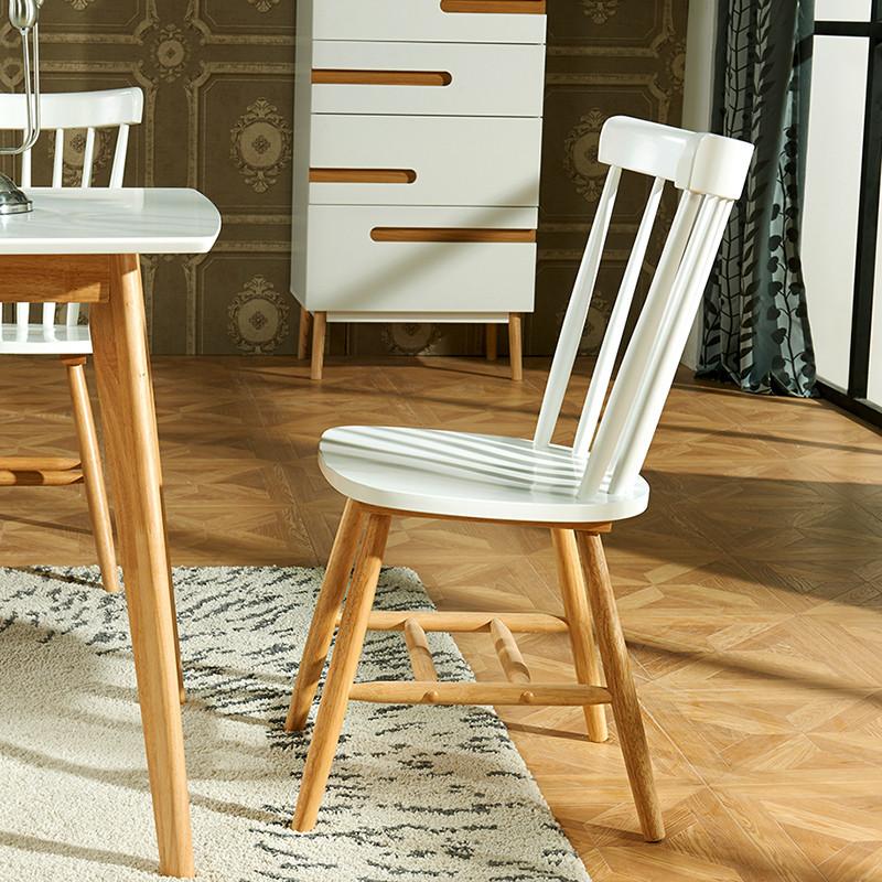 林通 北欧宜家美式椅田园餐椅 实木靠背椅家用椅子原木色温莎椅高清