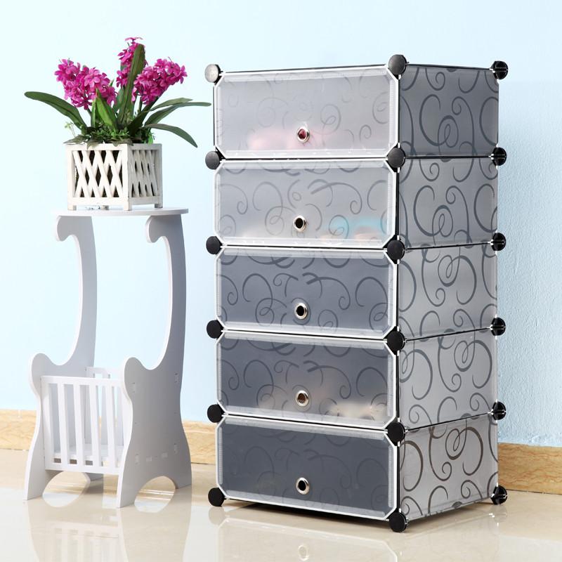 简易鞋柜 防尘鞋架 组装多层树脂鞋柜