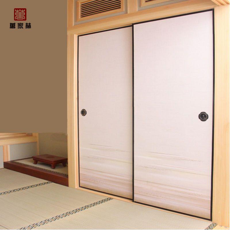 日式榻榻米福司玛门衣柜门贴画彩绘门纯实木樟子松推拉门 门框原木色